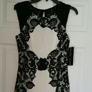 Cocktail dress white with black lace